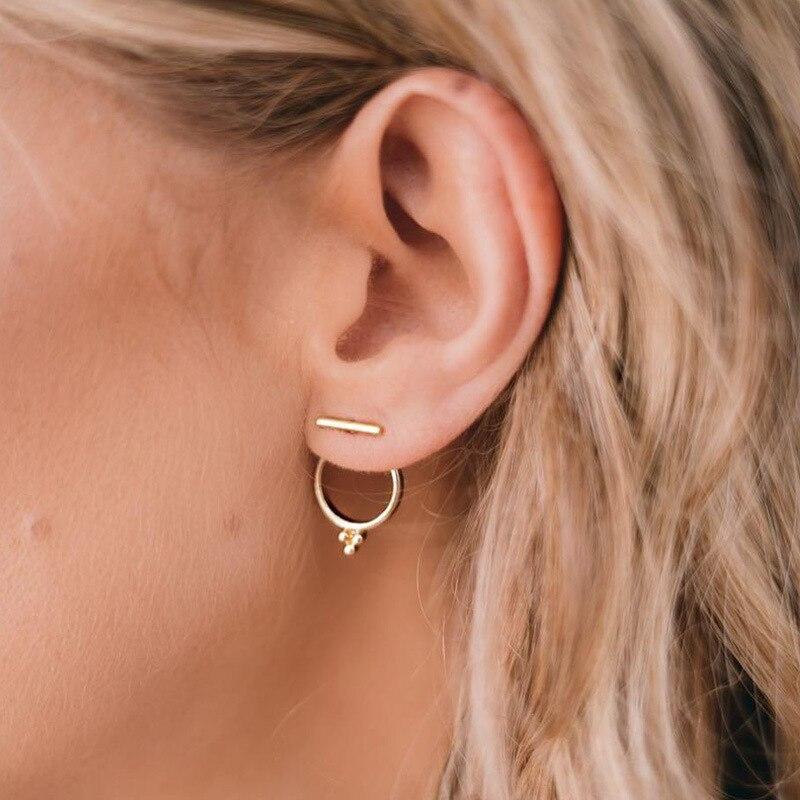 Minimalist Round Circle Three Dots Stud Earrings for Women Gold Color Geometric T Bar Earrings Fashion Piercing Friend Jewelry