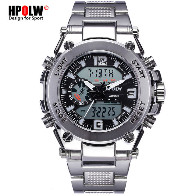 Sports Men's Wrist Watches LED Digital Quartz Clock Silver Fashion Waterproof Watch Top Luxury Brand Chronograph Male Watches