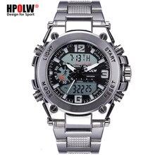 Спортивные наручные светодио дный СВЕТОДИОДНЫЕ Цифровые кварцевые часы серебряные модные водостойкие часы Топ люксовый бренд хронограф мужские часы