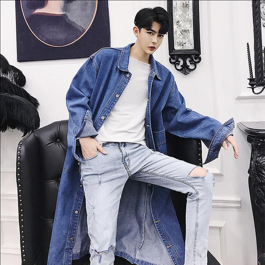 Men Denim Jacket Trendy Coat Autumn Over The Knee Long Section Cowboy Windbreaker Men Loose Thin Section Youth Handsome Tide
