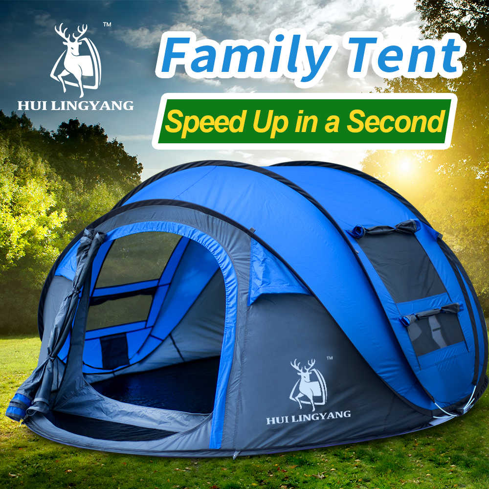 HUILINGYANG camping tente grande space3-4persons automatique vitesse ouverte jeter pop up coupe-vent camping famille tente