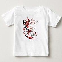 Children trendy T-shirt Chinese style plum blossom printed boy girl 100% cotton Tshirt light blossoms dyed silk