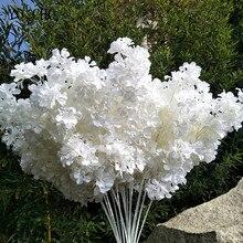 95cm Seide Hortensien Weiß Zweig Treiben Schnee Gypsophila Künstliche Blumen Kirschblüten Hochzeit Bogen Schmücken Gefälschte blume