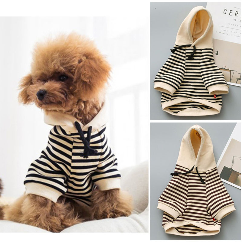 Dog Clothes For Small Dogs French Bulldog Cotton Coat Hoodies Outfit Striped Chihuahua Clothes Letter Print Dog Apparel S-4XL