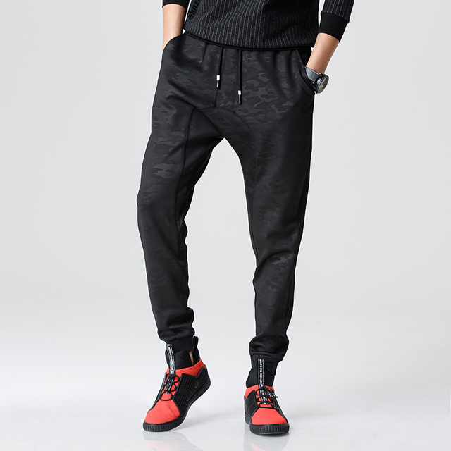 2017 men Harem Pants brand 2016 Casual Sagging pants men Trousers Drop Crotch Pant Men Joggers Feet pants hanging crotch