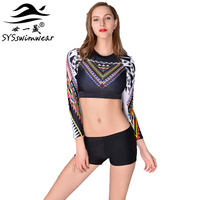 High Quality Long Sleeves Two Pieces Women Swimwear Surfing Cycling Swimming Girl Sport Clothes 4 Colors