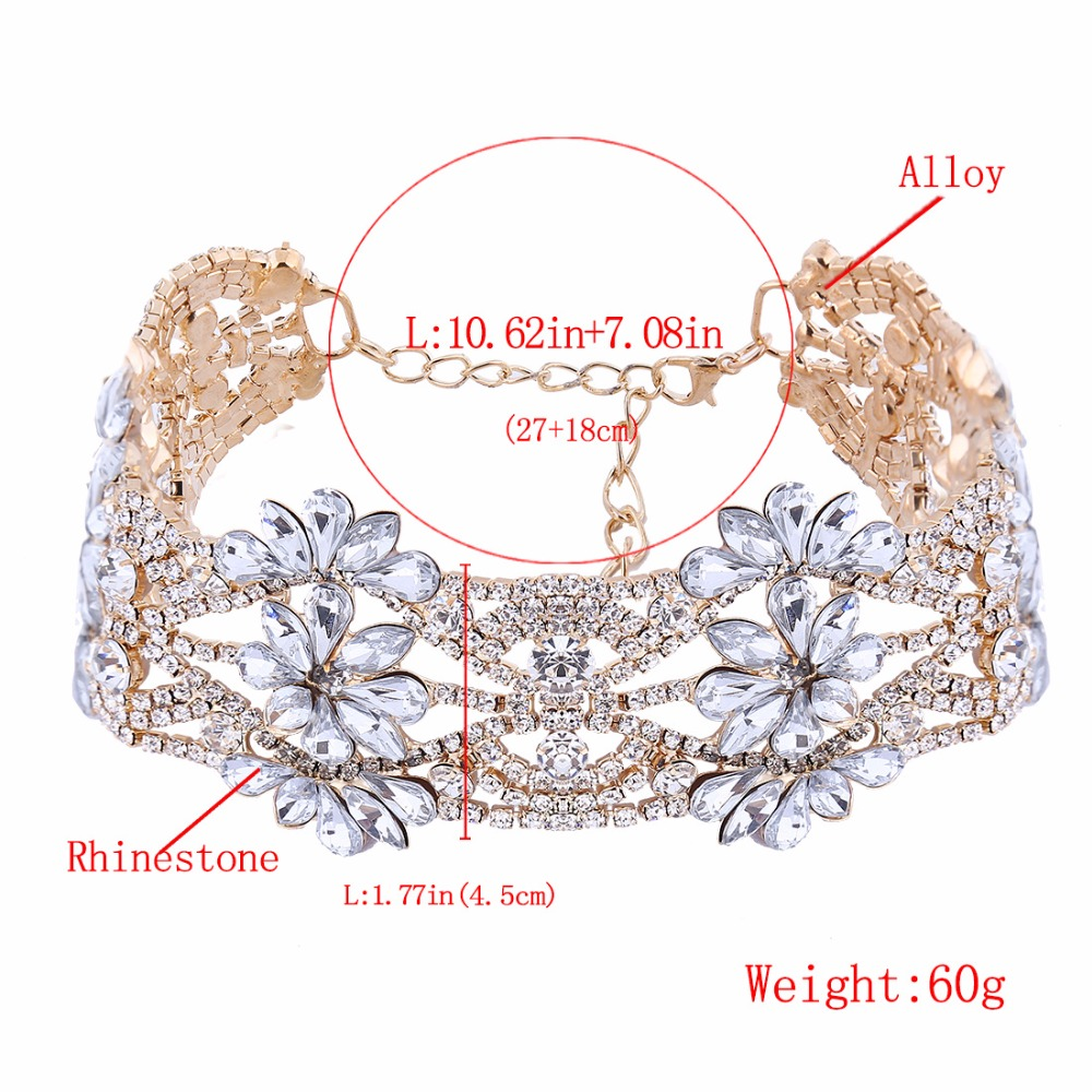 45cf902a9d09a fashion big crystal flowers collar choker necklace vintage statement  necklace women maxi necklaces neck Jewelry collares