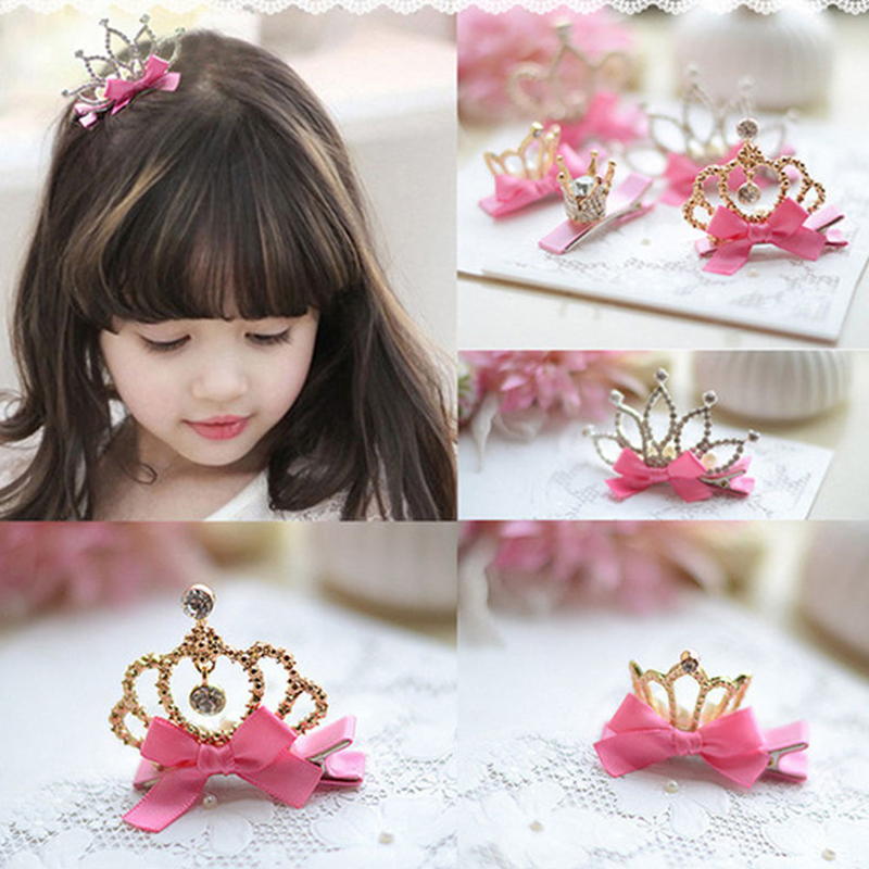 Sale 1Pc High Quality Girls Baby Kids 12 Styles Crown Hairpin Bowknot Duckbill Clip Zircon Princess Birthday Gift