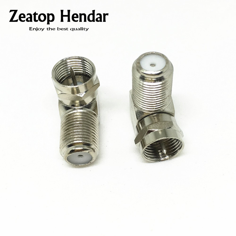F Type Right Angle Male to Female Plug Coaxial Coax Cables TV Connector Adaptor