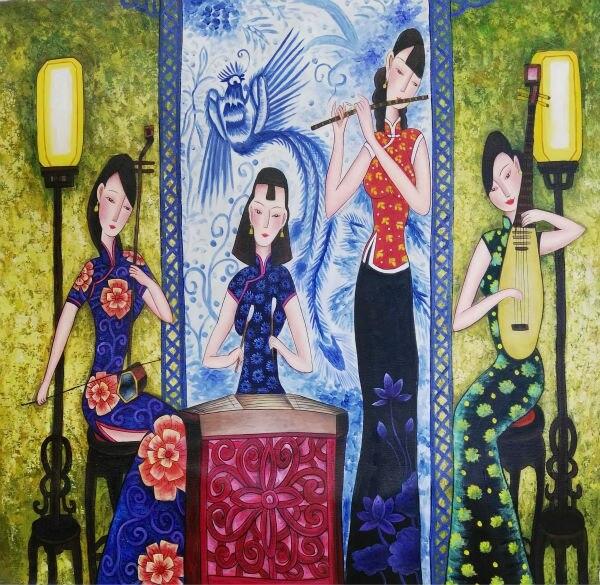 Ручная роспись, высокое качество, китайская живопись на холсте, стильная фигура, картина маслом на холсте, настенная живопись, картина для г