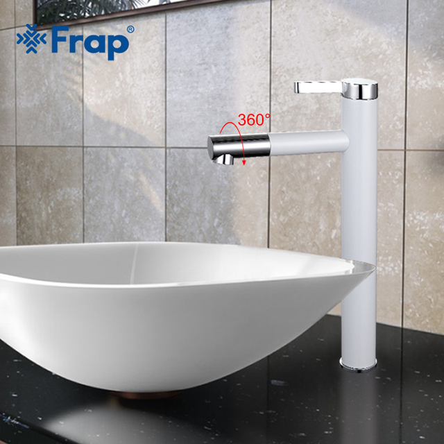 Frap New Arrival High White Spray Painting Basin Taps Bathrooms Crane Torneira with Aerator 360 Free Rotating F1052-15