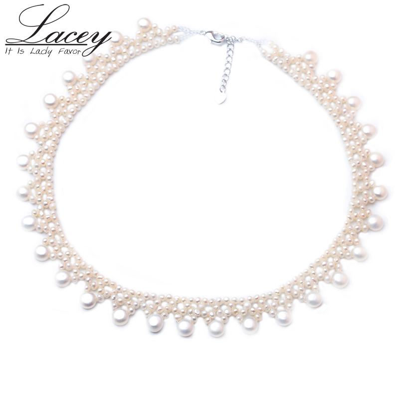 LACEY wedding pearl clavicle necklace,fashion natural freshwater Multilayer pearls necklace,925silver jewelry for birthday party cat eye multilayer necklace