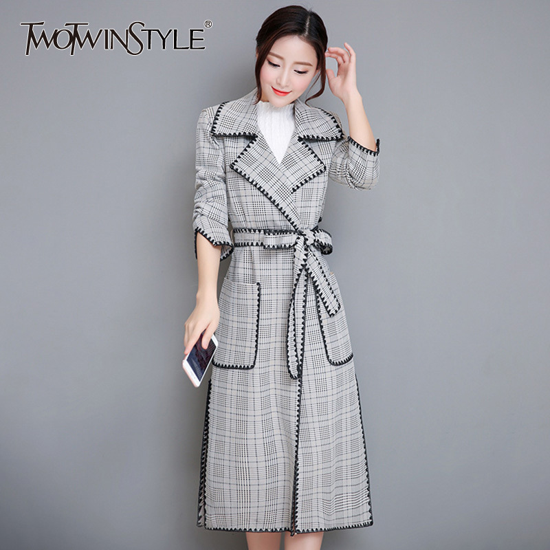 TWOTWINSTYLE Embroidery Plaid Trench Coat Female Long Sleeve Womens Windbreaker Lace up Midi Overcoat Casual Autumn Plus Size