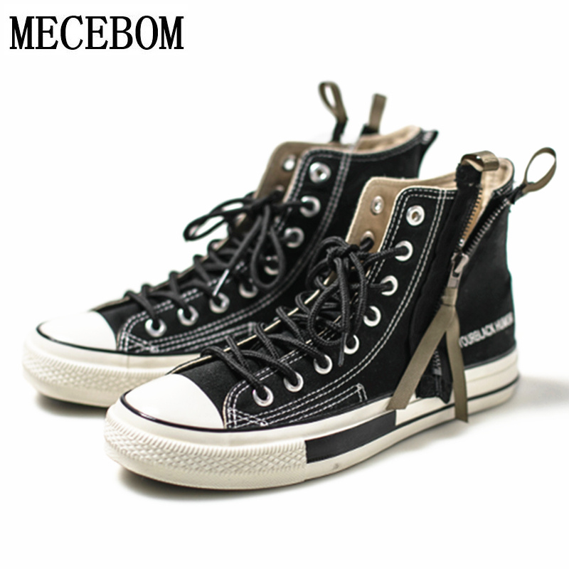 Fashion Men's Ankle Boots Patchwork Zipper design Canvas High-top Men shoes Black Lace-up Botas masculina size 39-43 1208m black v neck lace up design cami top