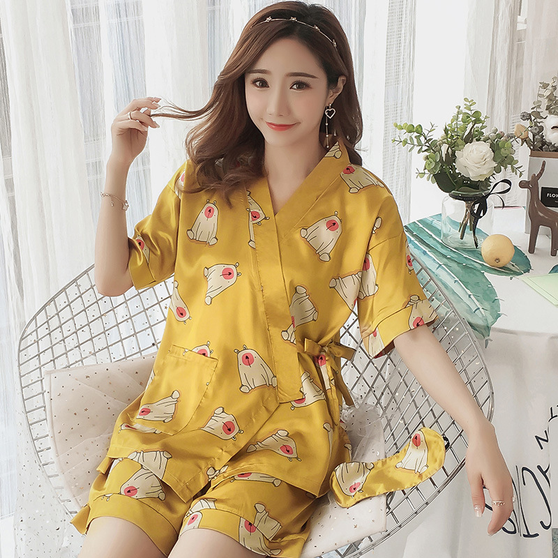 Japanese-Style Kimono Pajamas Summer Silk-like Short Sleeve Korean-Style Fresh Students Home Service Two-Piece Set Can Ou