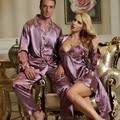 2017 Весна Пара Пижамы Костюм Эмуляции Шелковые Женщины Халат Устанавливает Полный Рукав Пижамы Для Мужчин Шелковый Атлас Pijamas Повседневная Домашняя Одежда
