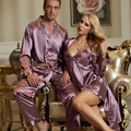 2017 Spring Couple Pajama Suit Emulation Silk Women Robe Sets Full Sleeve Sleepwear For Men Silk Satin Pijamas Casual Homewear