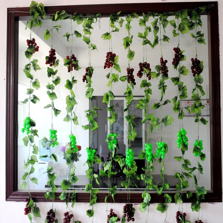 Un 4 UNIDS/SET Uva Hoja Techo De Caña Decoración de Ratán Flor Artificial Acceso