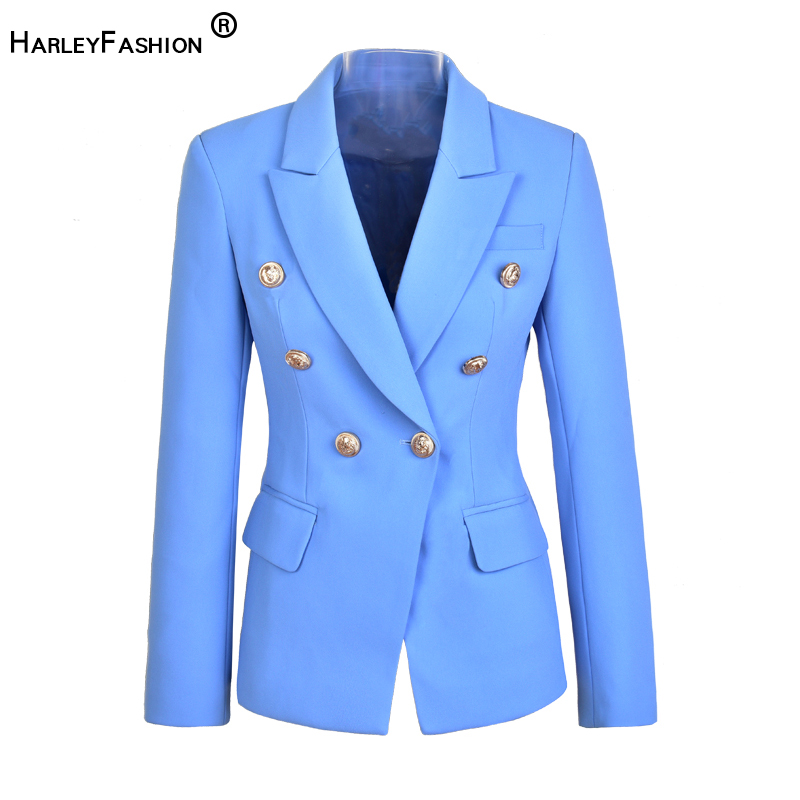 HarleyFashion Unique Design High Quality Runway Candy Color Slim Formal Blazers Buttons Solid OL Women Blazers