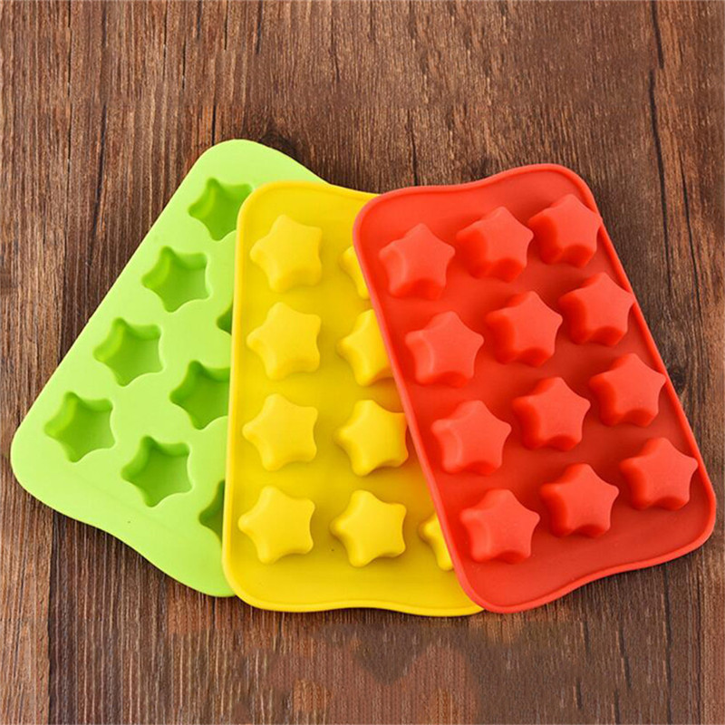 TTLIFE 12 Grid Silicone Chocolate Mold Tray Creative Star Heart Round Square Shaped Ice Cube Cake Deco Mold DIY Color Random in Baking Pastry Tools from Home Garden