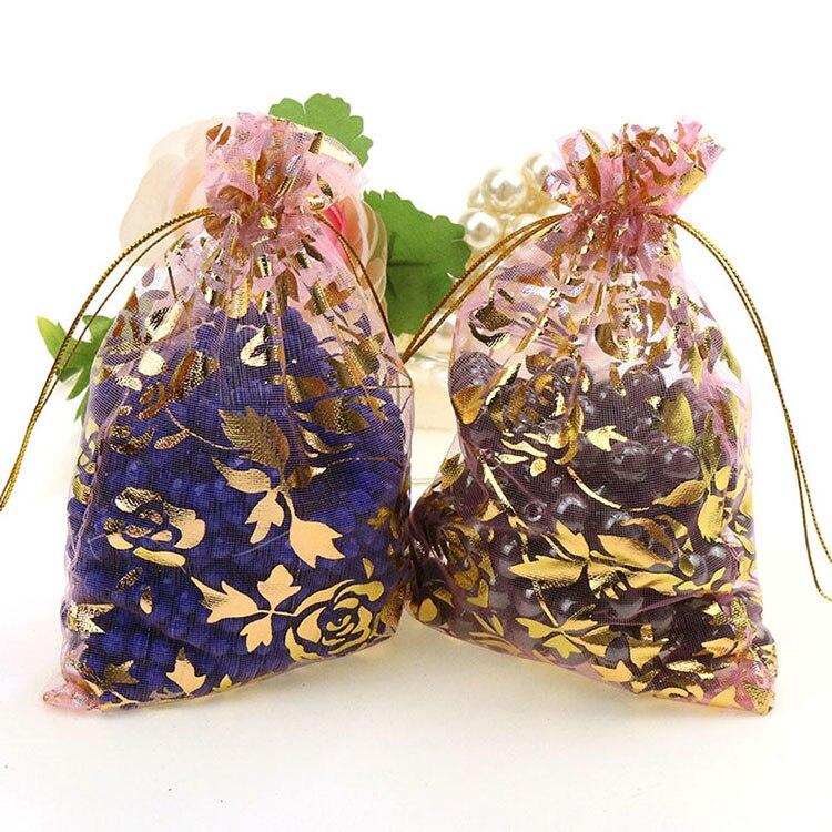 722c59f77 Envío libre al por mayor 100 unids/lote 11x16 cm rosa Navidad/de la boda  drawable organza de empaquetado del regalo Bolsas Y Bolsas de tela