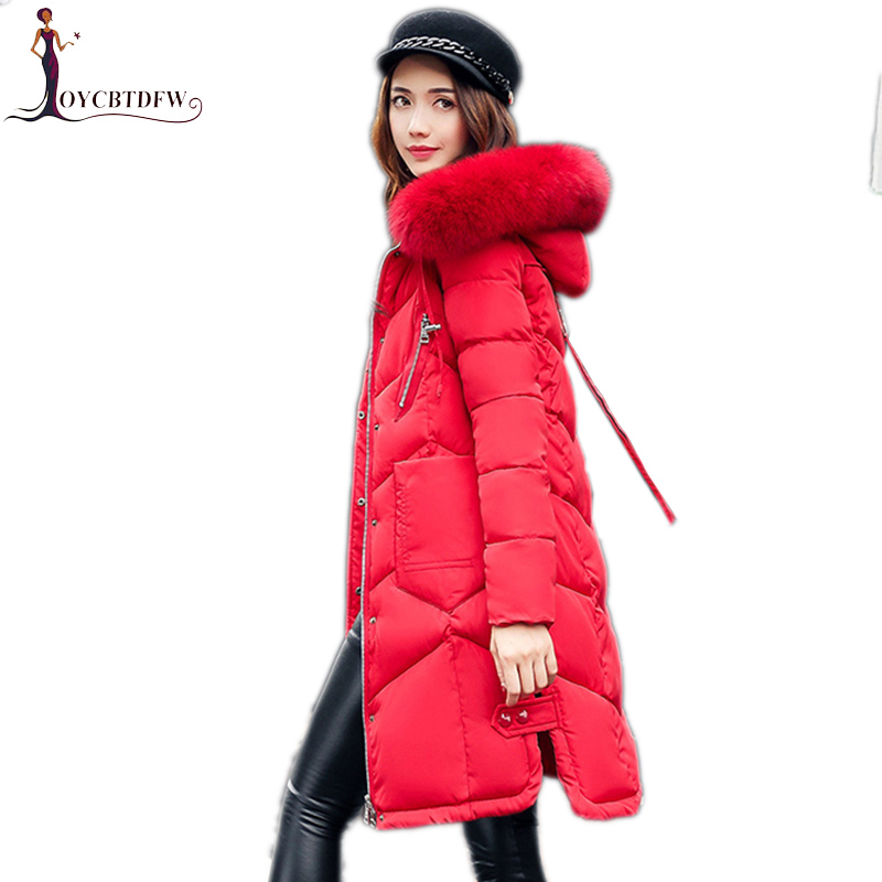 Winter women outerwear 2017 new solid color Large size overcoat mid-long fur collar cotton coat hooded warm female Parkas wy030 women winter coat leisure big yards hooded fur collar jacket thick warm cotton parkas new style female students overcoat ok238