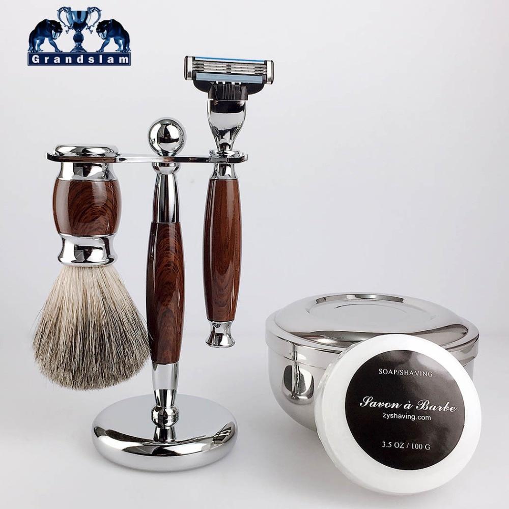 GrandSlam Men Shaving Gift Kit Safety Razor 3 Layers Blade Pure Badger Shaving Brush Shaver Stand Holder Cream Soap Bowl