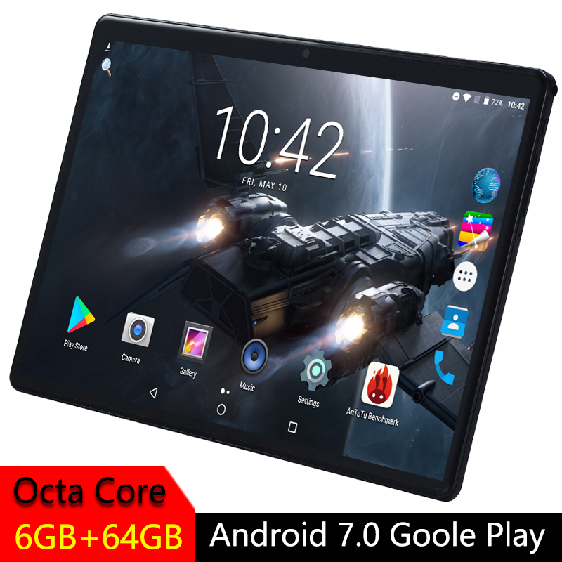 10 Inch Tablet PC 2.5D Tempered Glass IPS Android 7.0 Octa Core  Phone Call Dual SIM Card WIFI GPS RAM 6GB ROM 32GB 64GB Tablet