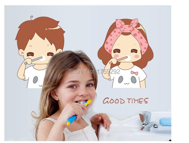 Free shipping couples cartoon bathroom mirror stickers  Decor  cute  Wallpaper Art Decals Home decoration
