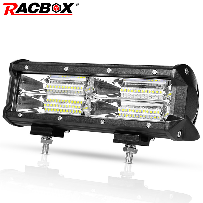 RACBOX Tri row 10 inch Led 12V atv Light Bar 144W Flood led light avt 24V