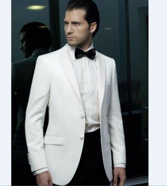 High Quality Two Button Ivory Groom Tuxedos Groomsmen Men\'s Wedding ...