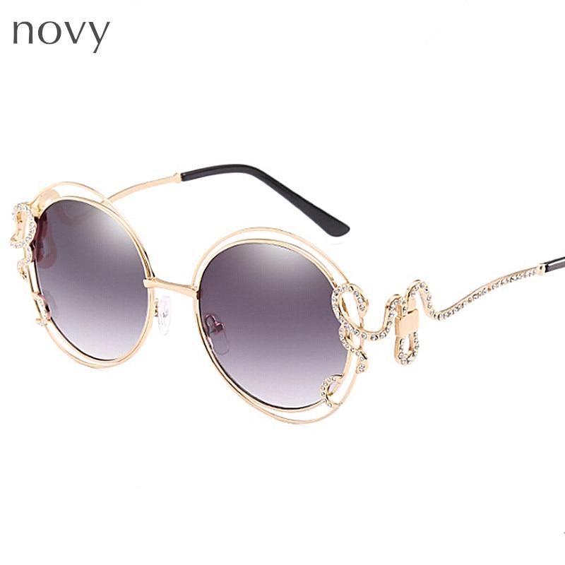 Crystal diamond woman sunglasses snake shape adult sun glasses round ...