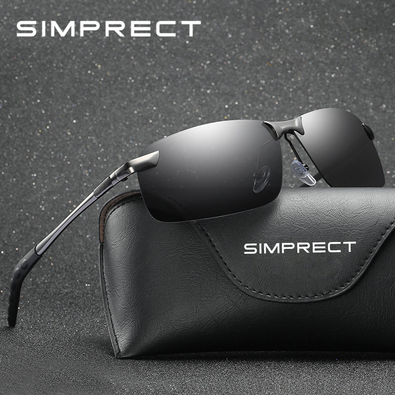 SIMPRECT 2019 Semi-Rimless Polarized Sunglasses Men UV400 Mirror Driving Sun Glasses