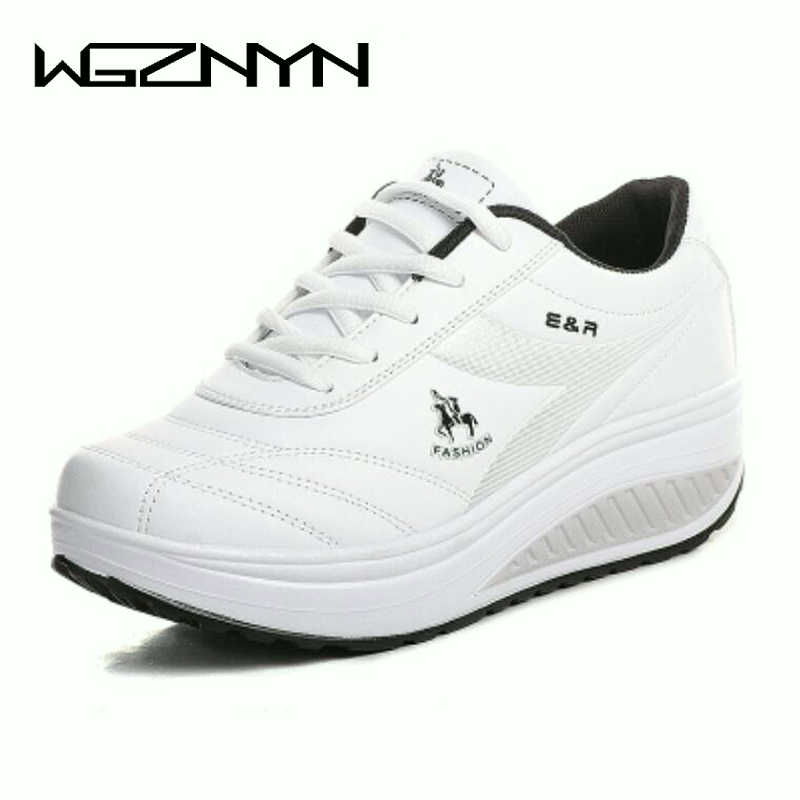WGZNYN Women Sneakers Wedges Platform Body Shaping Shoes Shape Ups Fitness Shoes Slimming Swing For Female Weightlifting Shoes