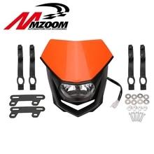 Motorcycle Universal Halo H4 Headlight White Black orange Motorcycle Enduro Head font b lamp b font