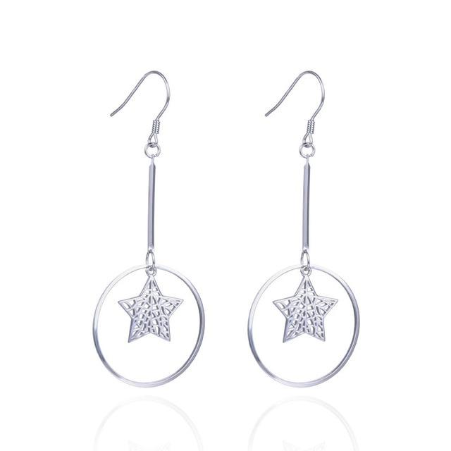 YJAR001979 Retro Fashion Temperament Jewelry S925 Sterling Silver Dangle Earrings Lady Circle Hollow Star Long Pendant