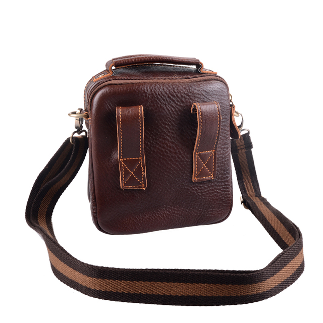 Men's Genuine Leather Vintage Shoulder Messenger Bag male Casual multifunction Small Crossbody Flap hangbag man Messenger Bags 4