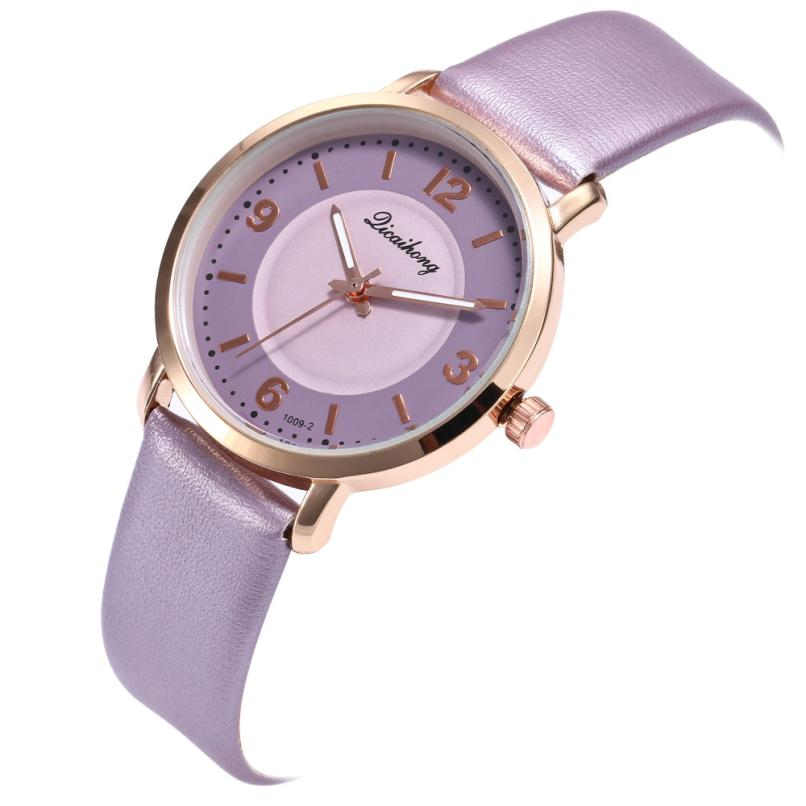Purple Personality Simple Unique Watches Female Women Fashion Leather Band Analog Quartz Round Wrist Watch H0417 pu leather band women s quartz analog wrist watch yellow