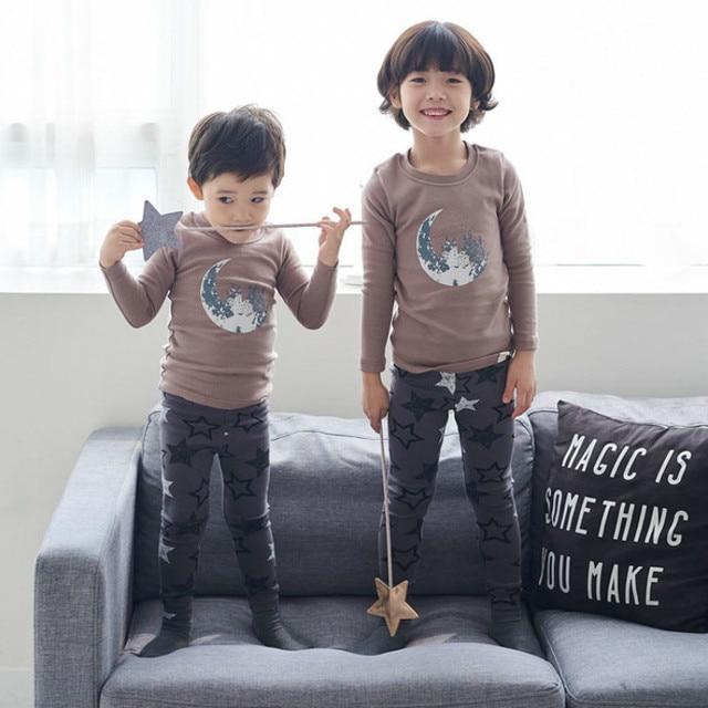 f702d2785 Syue Moon Girls Pajamas Sets Kids Stars Moon Pattern Pyjamas ...