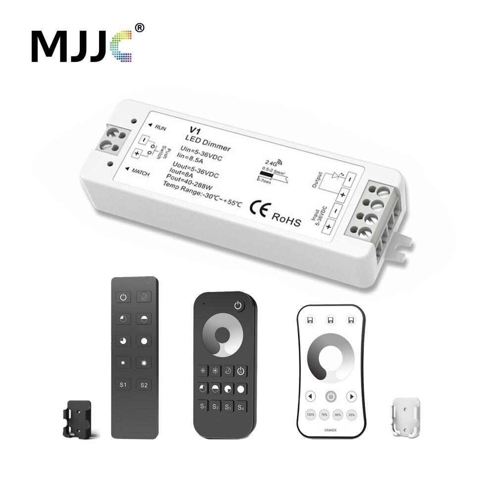 MJJC LED Dimmer 12 v 5 v 24 v 36 v 8A PWM Wireless RF LED Dimmer Interruttore ON OFF con 2.4g Telecomando per Singolo Colore HA CONDOTTO LA Luce di Striscia