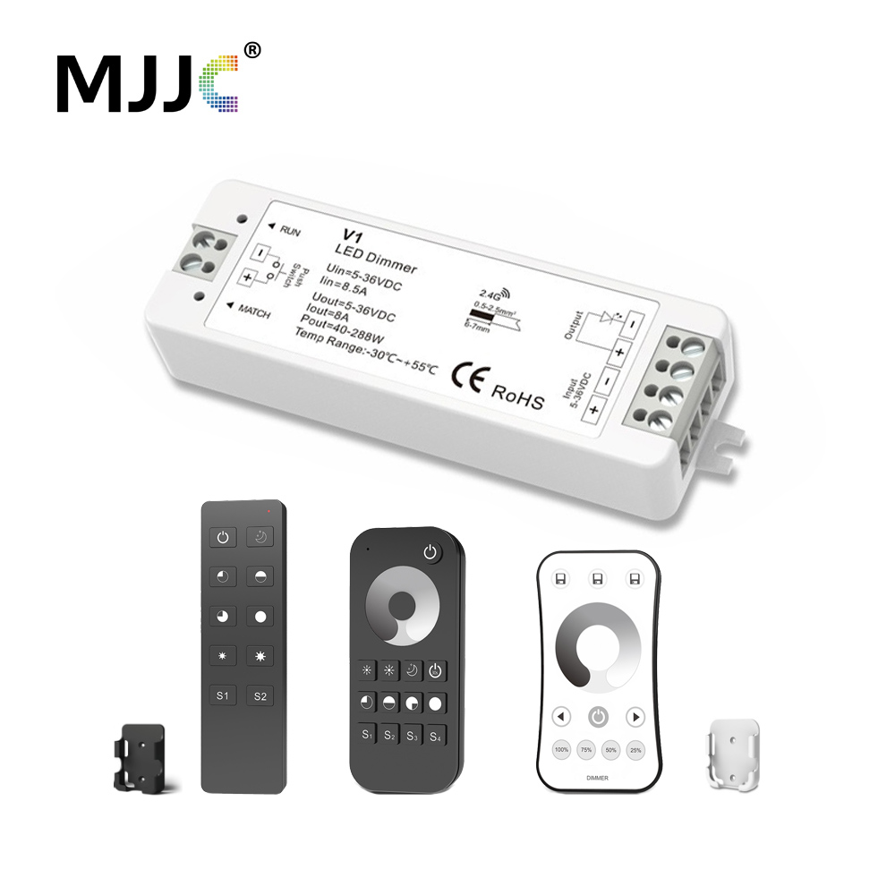 MJJC LED Dimmer 12V 5V 24V 36V 8A PWM Wireless RF LED Dimmer Switch ON OFF with 2.4G Remote for Single Color LED Strip LightMJJC LED Dimmer 12V 5V 24V 36V 8A PWM Wireless RF LED Dimmer Switch ON OFF with 2.4G Remote for Single Color LED Strip Light