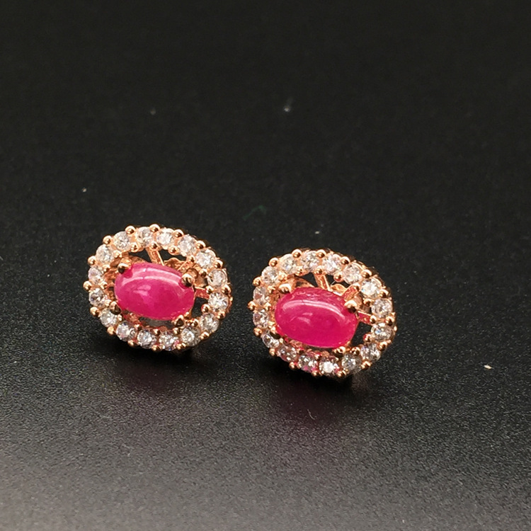 Natural Ruby Stud Earrings for Women Diamond Encrusted Free Shipping