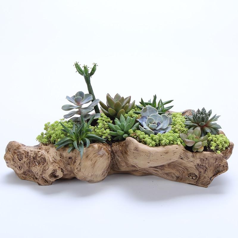 Succulents resin potted plants retro root wood flower pots wholesale succulents