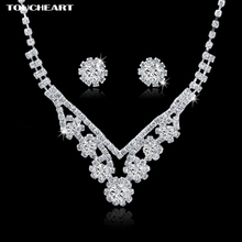 TOUCHEART Wedding African Beads Wedding Bridal Jewelry Sets For Women Classic Crystal Silver color Statement Necklaces Earrings
