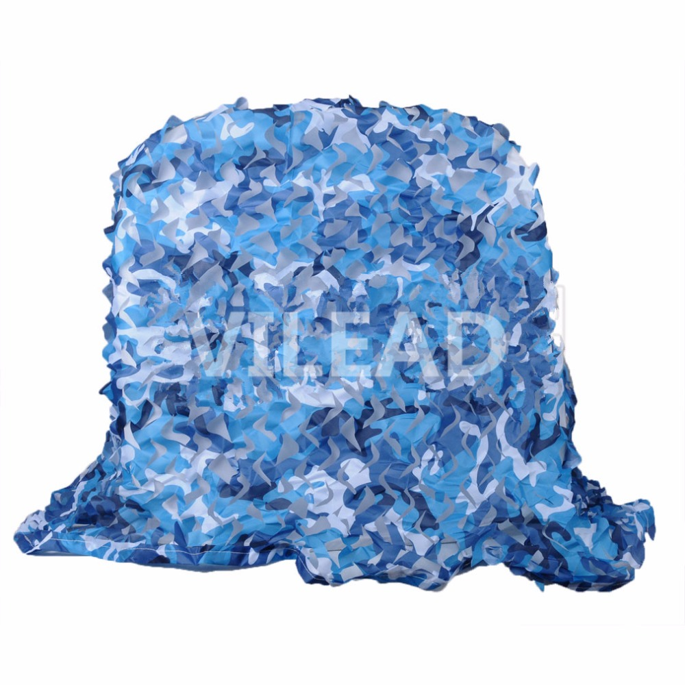 VILEAD 2.5M*10M Filet Camouflage Netting  Blue Camo Netting  For Car Sunshade Event Shelter Object Decoration Gazebo Camping 5m 9m filet camo netting blue camouflage netting sun shelter served as theme party decoration beach shelter balcony tent