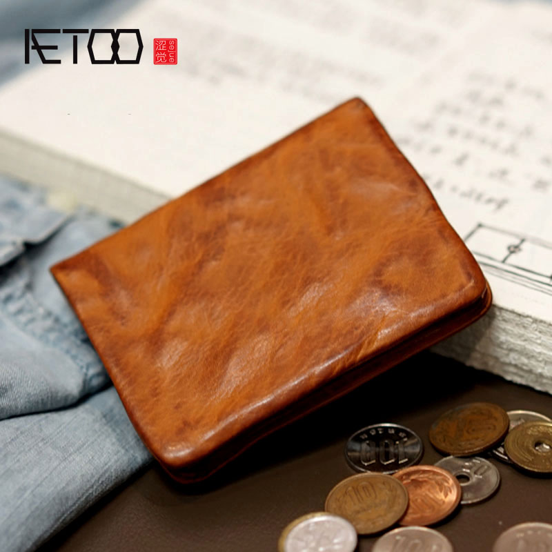 AETOO Thin section Japan and South Korea original handmade leather wallet men and women casual retro leather wallet Japanese ежедневник japan and south korea 520