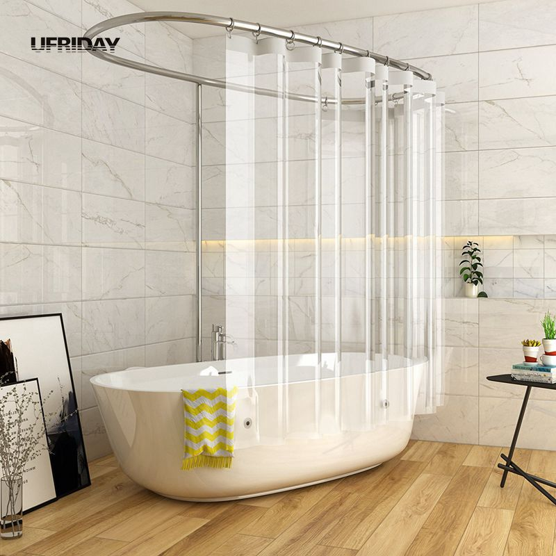 UFRIDAY Shower Curtain Waterproof For Home Hotel Crystal Clear Bathroom Eco Friendly With 3 Magnetic Bottom Bath