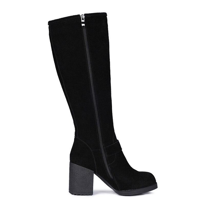 Largas De Clásico Rodilla Smirnova Vaca Invierno Gruesos 2018 Nuevo La Zapatos Corta Llega Tacones Cuero Felpa Del Negro Botas Ante xvRgv
