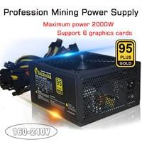 Bitcoin 2000W PLUS Gold Power Supply SATA IDE Support 8 GPU Ethereum ETH Mining ATX PC