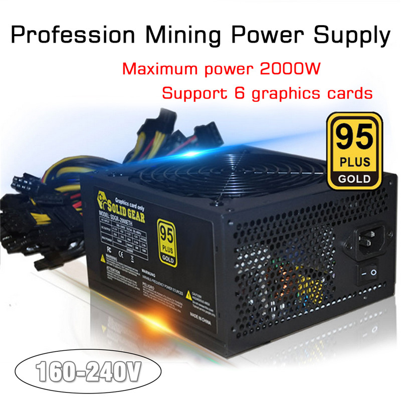 Bitcoin PLUS Gold Power Supply SATA IDE Support 8 GPU Ethereum ETH Mining ATX PC Power Supply For BTC Minner Machine yunhui used btc miner antminer s5 1150g 28nm bm1384 bitcoin mining machine asic miner with power supply ship by dhl or spsr